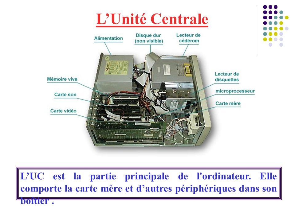L'Unité Centrale L'UC est la partie principale de l ordinateur.