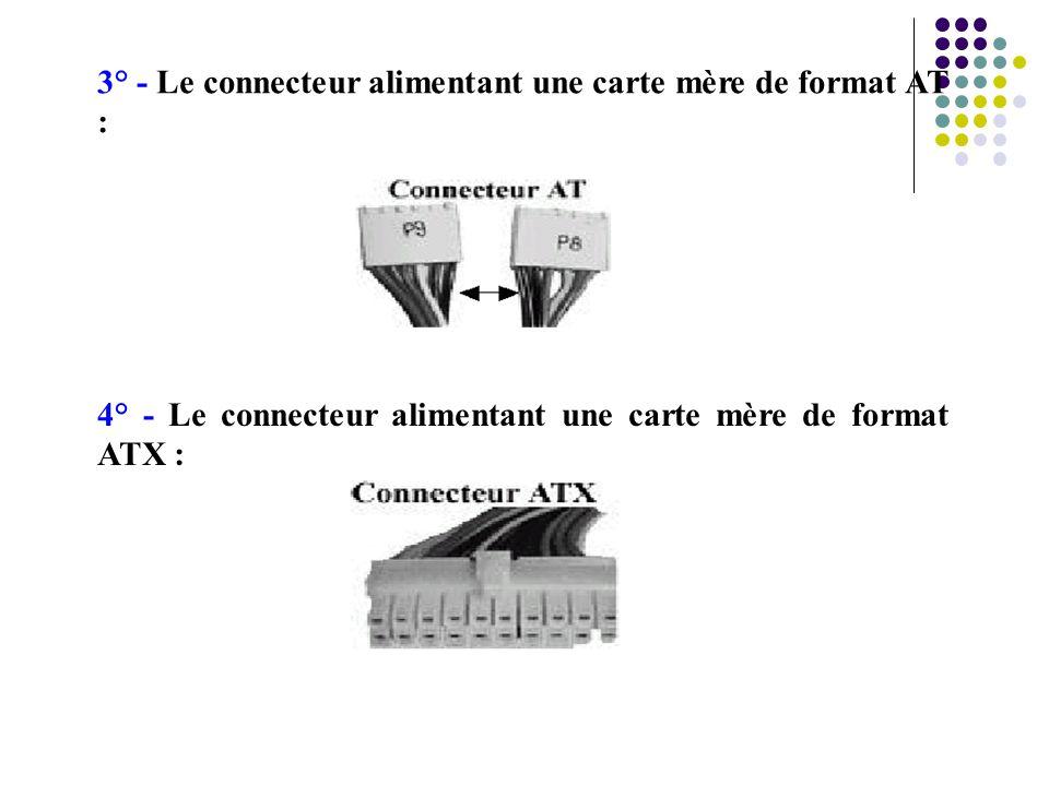 3° - Le connecteur alimentant une carte mère de format AT :