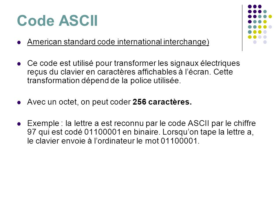 Code ASCII American standard code international interchange)