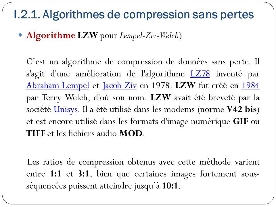 I.2.1. Algorithmes de compression sans pertes