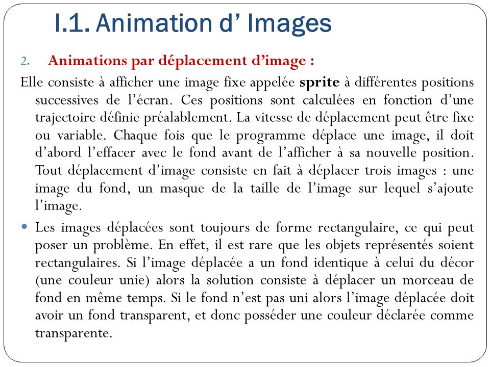 I.1. Animation d' Images Animations par déplacement d'image :