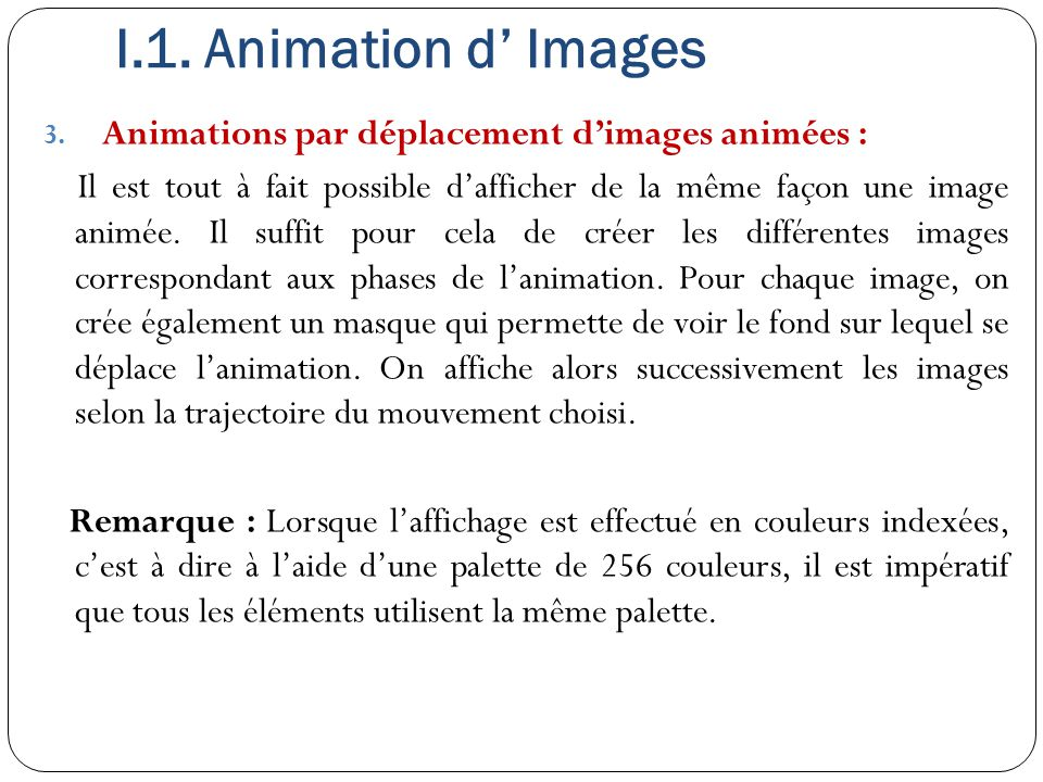 I.1. Animation d' Images Animations par déplacement d'images animées :