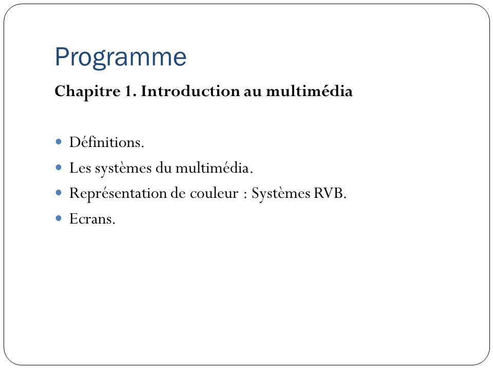 Programme Chapitre 1. Introduction au multimédia Définitions.