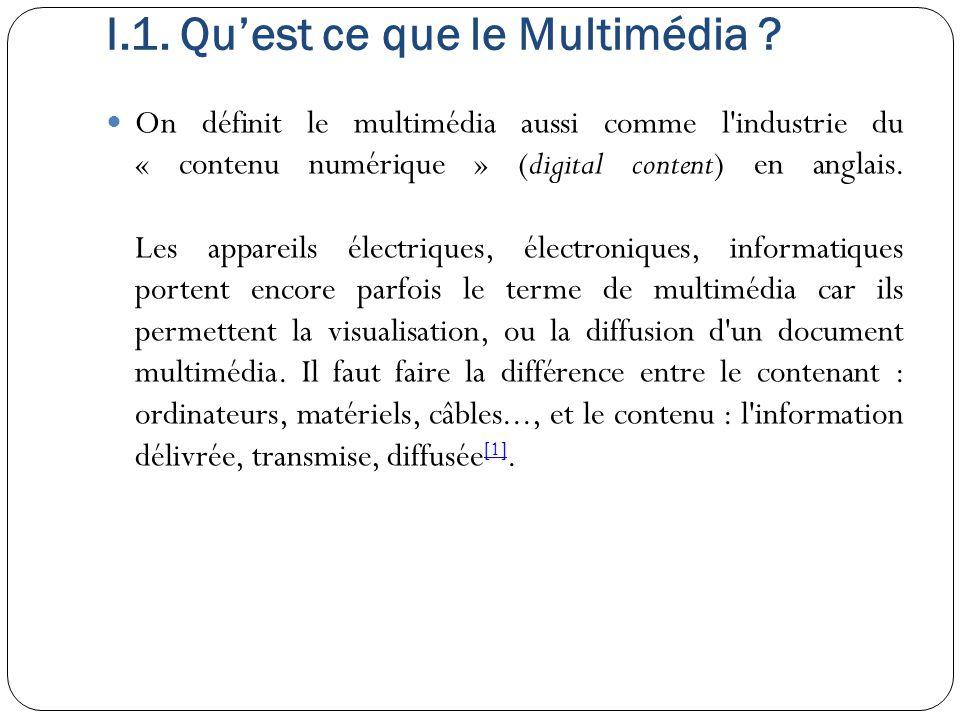 I.1. Qu'est ce que le Multimédia
