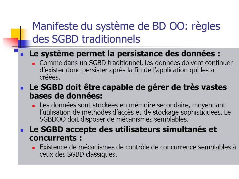Manifeste du système de BD OO: règles des SGBD traditionnels
