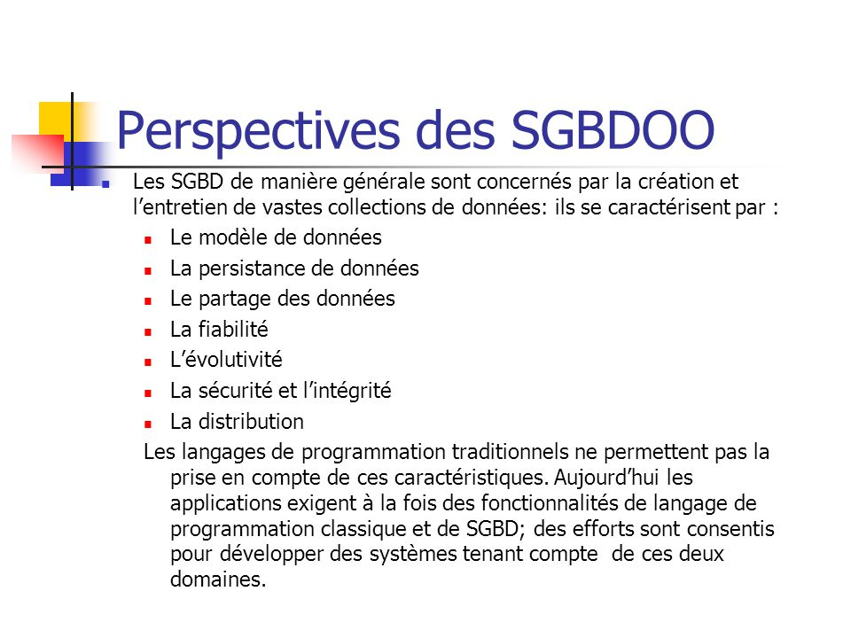 Perspectives des SGBDOO