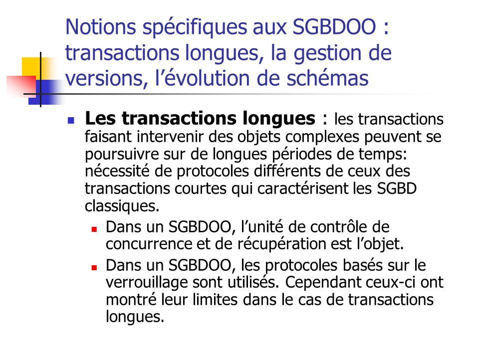 Notions spécifiques aux SGBDOO : transactions longues, la gestion de versions, l'évolution de schémas