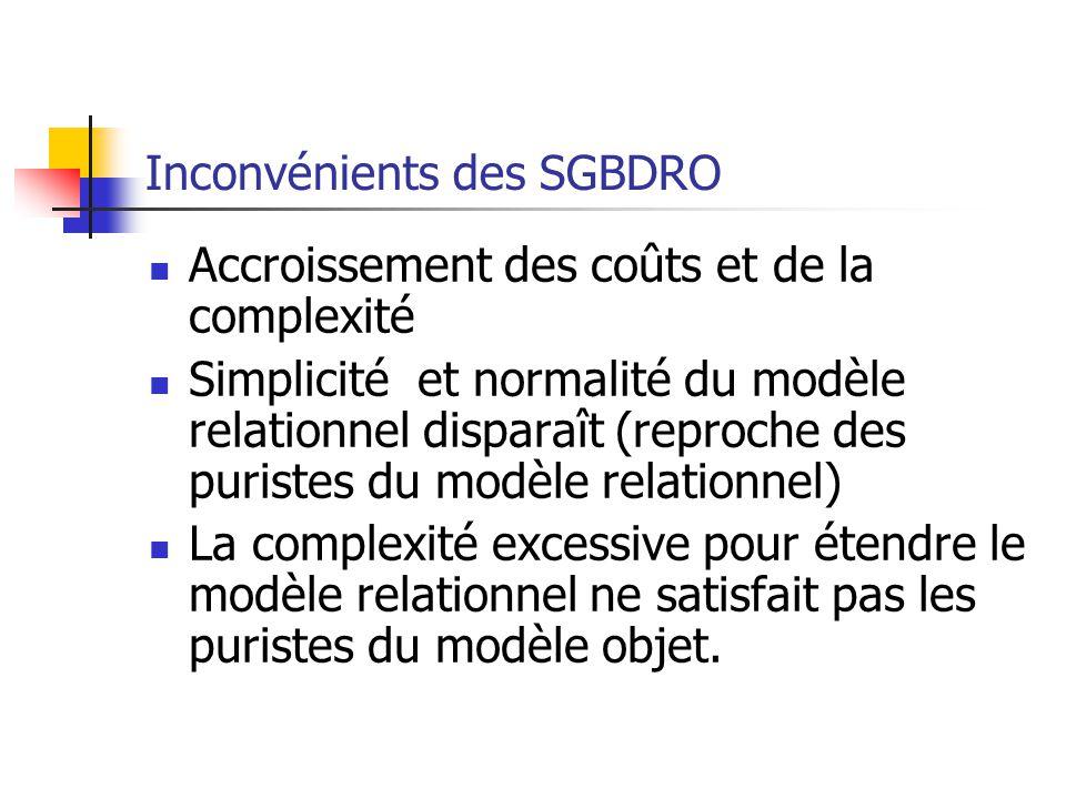 Inconvénients des SGBDRO