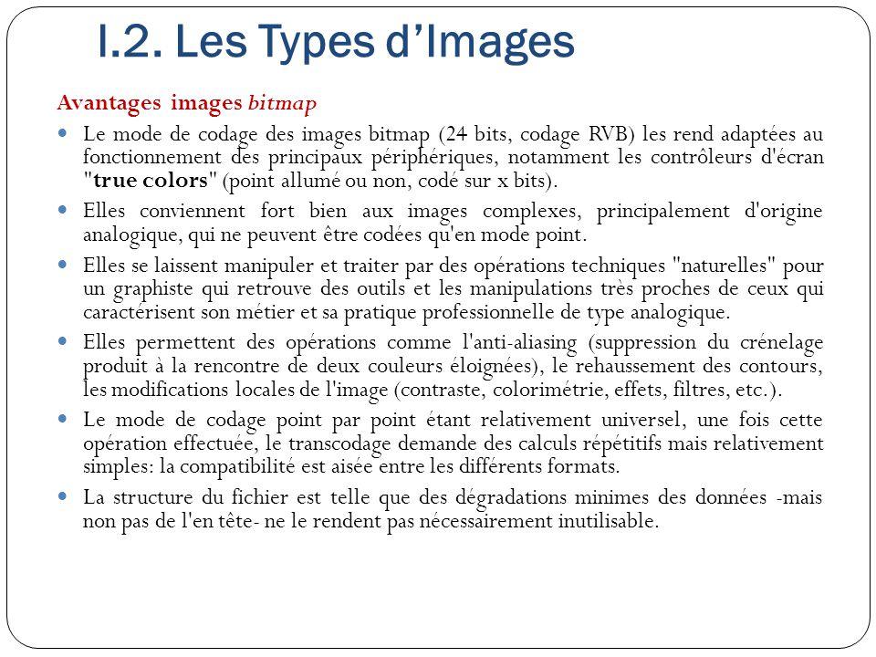 I.2. Les Types d'Images Avantages images bitmap