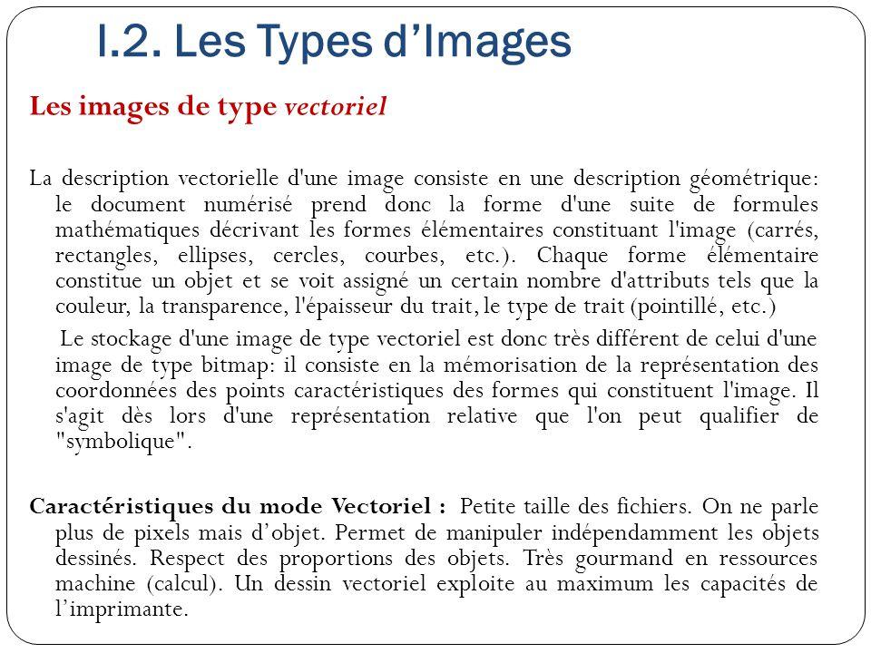 I.2. Les Types d'Images Les images de type vectoriel