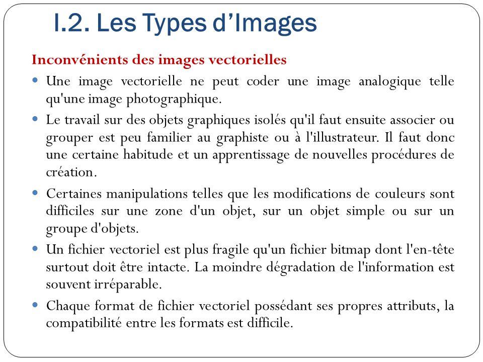 I.2. Les Types d'Images Inconvénients des images vectorielles