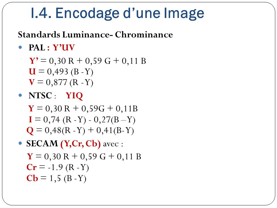 I.4. Encodage d'une Image Standards Luminance- Chrominance PAL : Y'UV