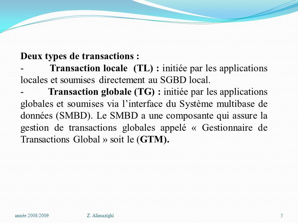 Deux types de transactions :