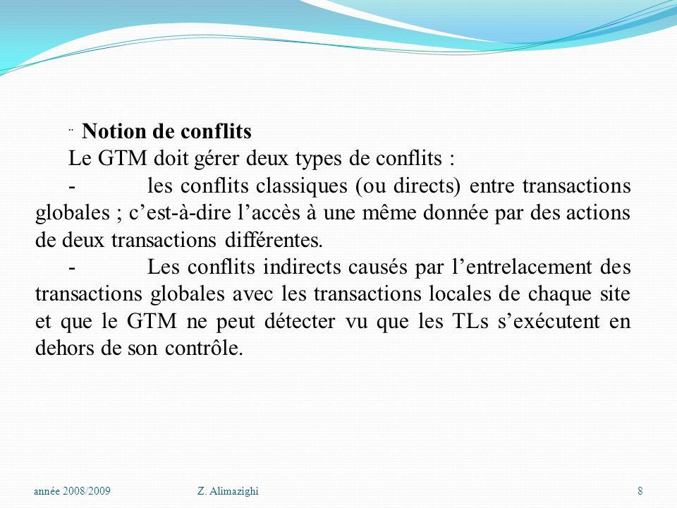 Le GTM doit gérer deux types de conflits :