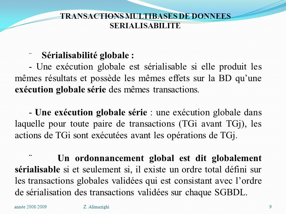 TRANSACTIONS MULTIBASES DE DONNEES