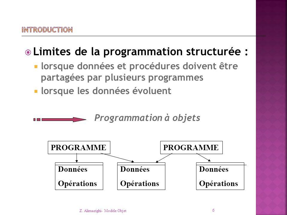 Limites de la programmation structurée :