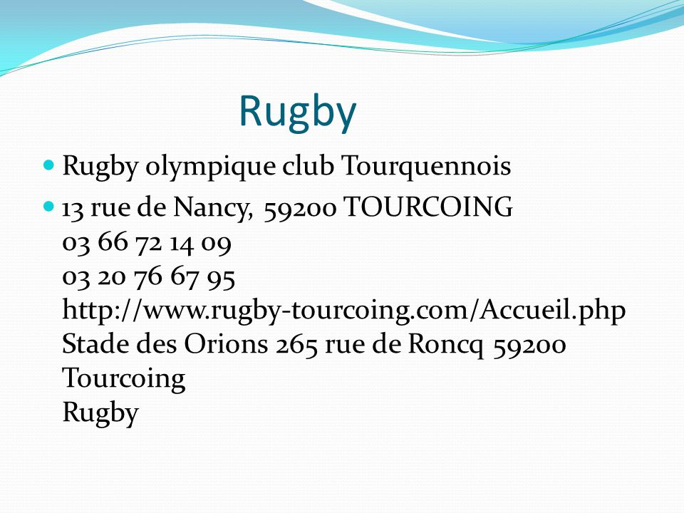 Rugby Rugby olympique club Tourquennois