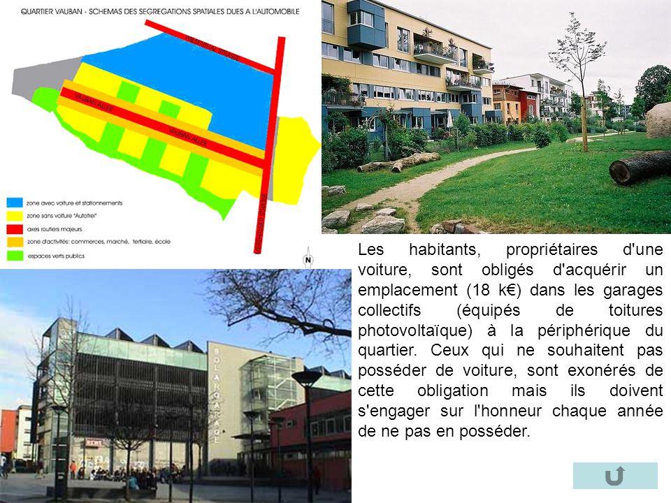 Les habitants, propriétaires d une voiture, sont obligés d acquérir un emplacement (18 k€) dans les garages collectifs (équipés de toitures photovoltaïque) à la périphérique du quartier.