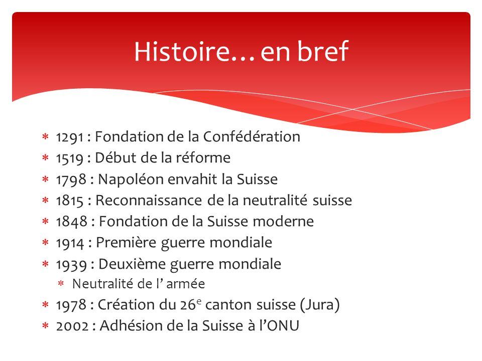 Histoire…en bref 1291 : Fondation de la Confédération