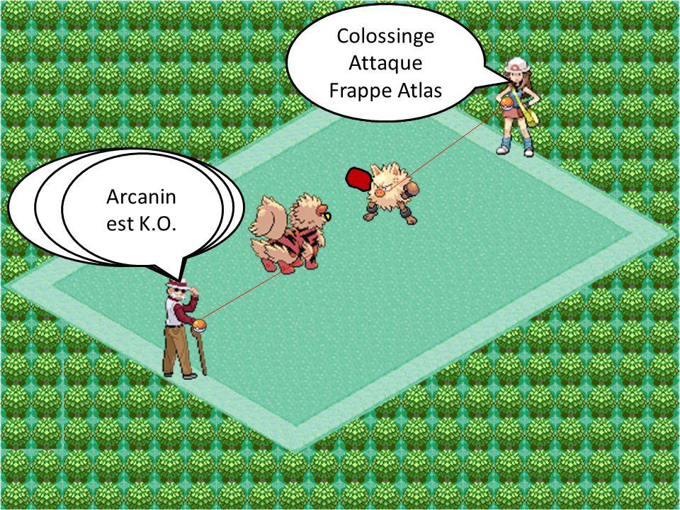 Colossinge Attaque. Poing-Karaté. Colossinge. Attaque. Frappe Atlas. Arcanin. Attaque. Vitesse Extrême.