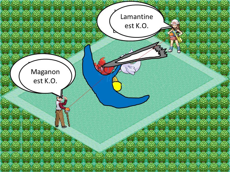 Lamantine Attaque. Saumure. Lamantine. Attaque. Laser Glace. Lamantine est K.O. Maganon. Attaque.