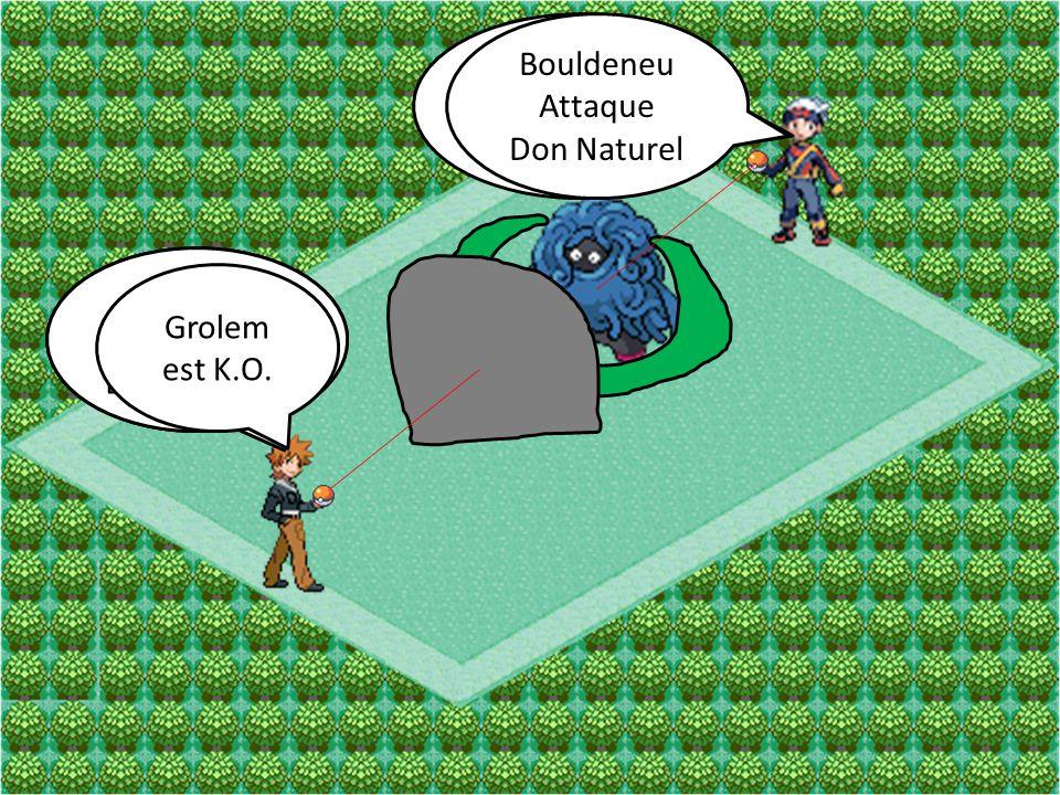 Bouldeneu Attaque. Mega-Sangsue. Bouldeneu. Attaque. Don Naturel. Grolem. Attaque Boule Roc. Grolem.