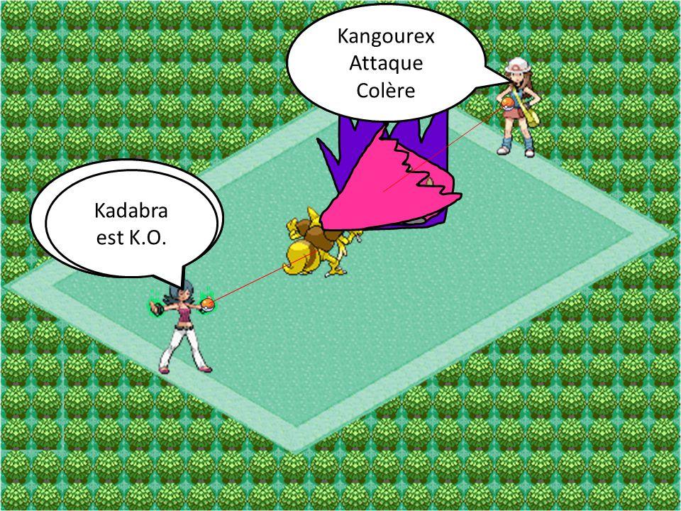 Kangourex Attaque. Coup Double. Kangourex. Attaque. Colère. Kadabra. Attaque. Rafale Psy. Kadabra.