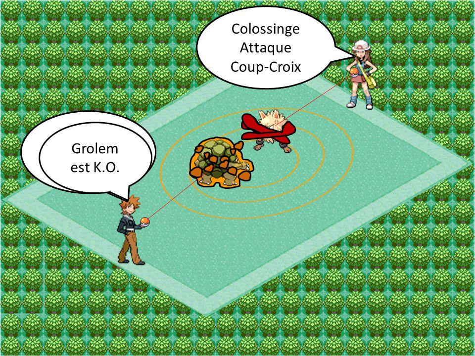 Colossinge Attaque. Poing-Karaté. Colossinge. Attaque. Coup-Croix. Grolem. Attaque. Lame de Roc.