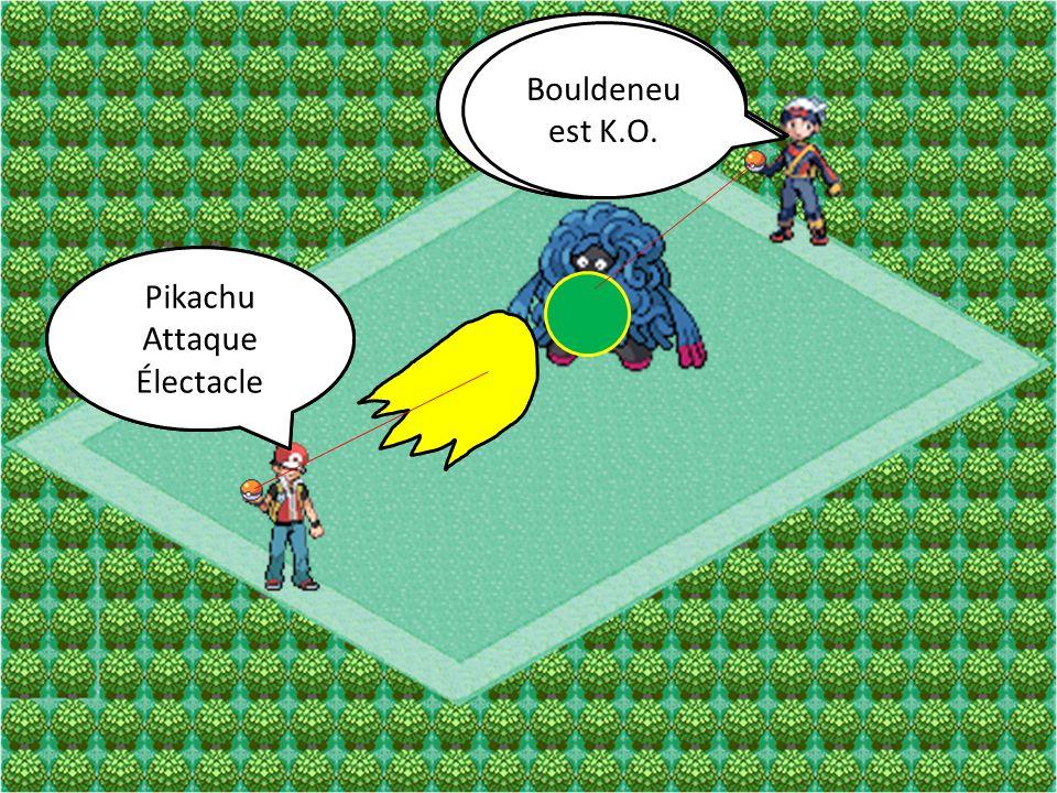 Bouldeneu Attaque. Souplesse. Bouldeneu. Attaque. Éco-Sphère. Bouldeneu est K.O. Pikachu. Attaque.