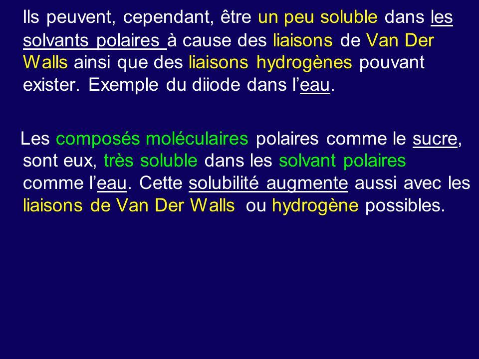 Ils peuvent, cependant, être un peu soluble dans les solvants polaires à cause des liaisons de Van Der Walls ainsi que des liaisons hydrogènes pouvant exister. Exemple du diiode dans l'eau.