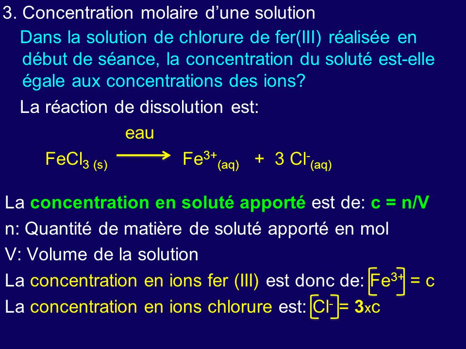 3. Concentration molaire d'une solution