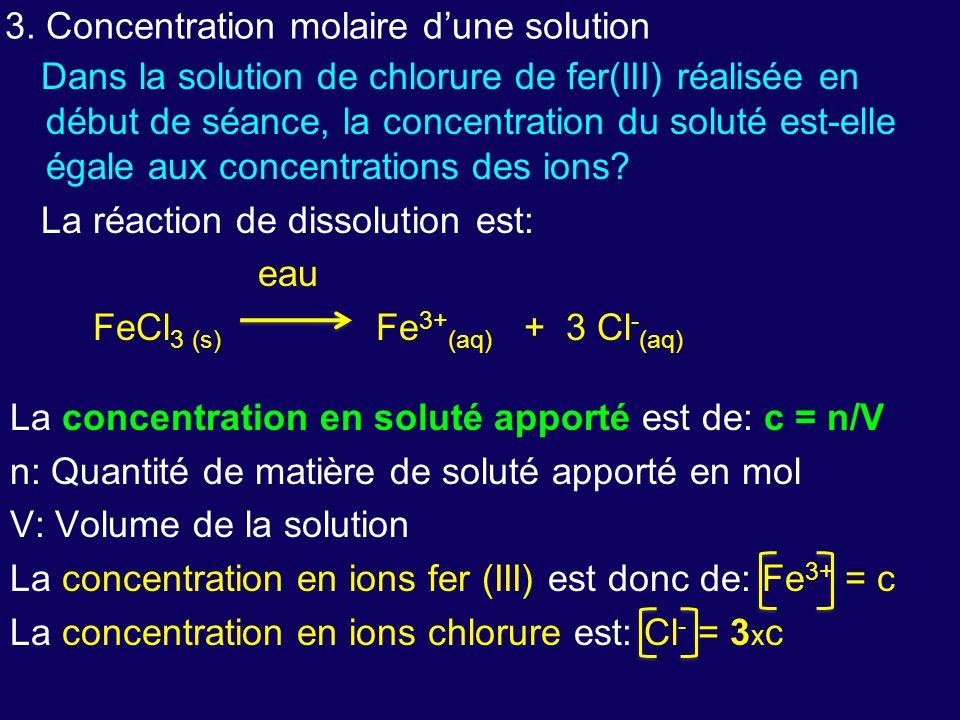 3. Concentration molaire d'une solution
