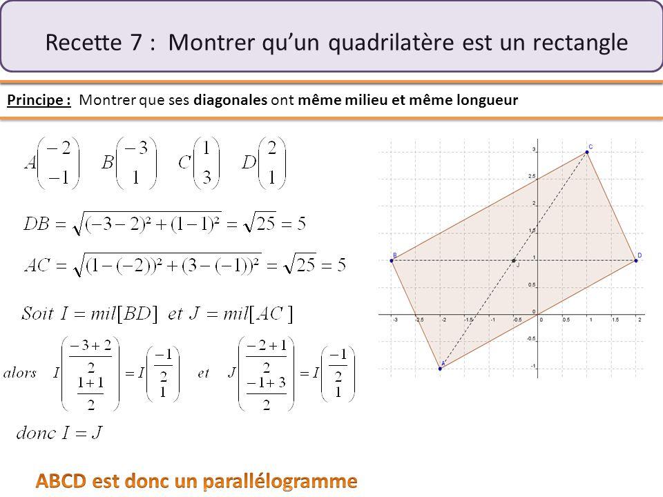 Recette 7 : Montrer qu'un quadrilatère est un rectangle