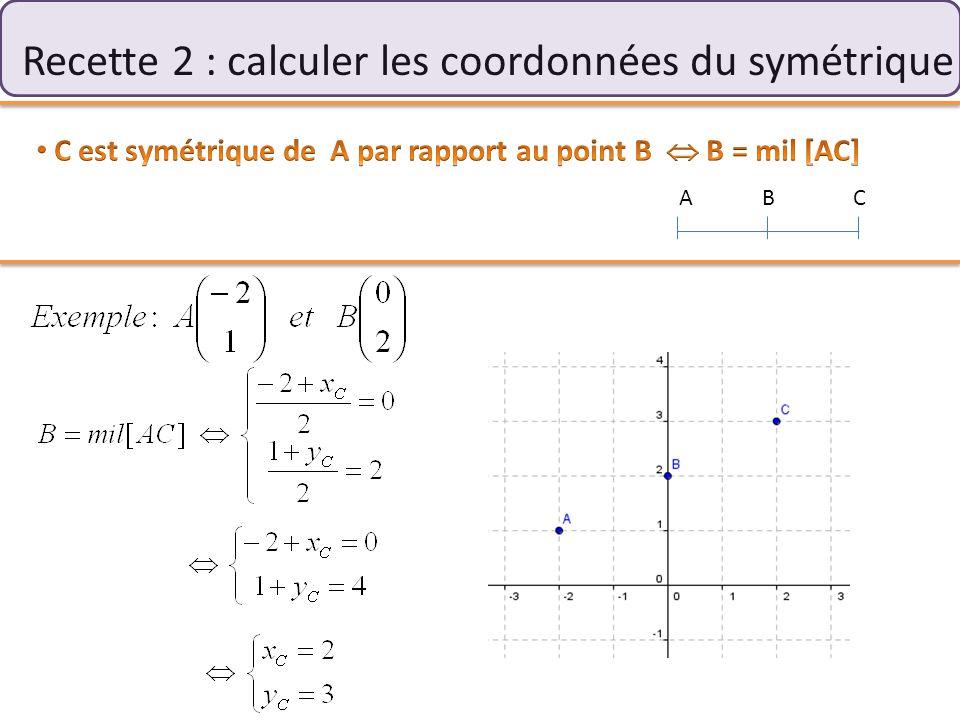 Recette 2 : calculer les coordonnées du symétrique