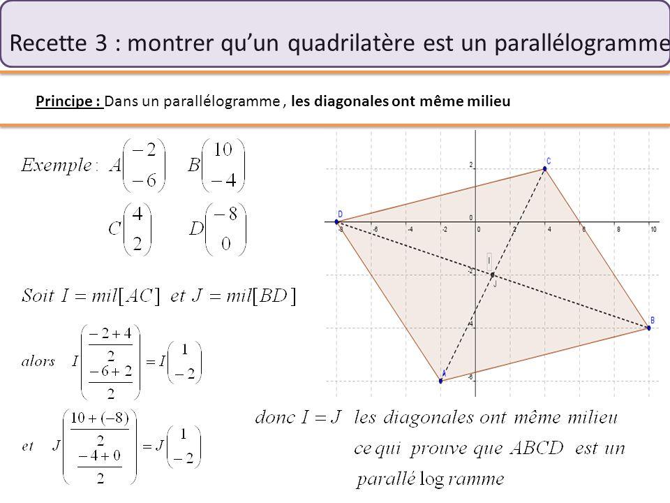 Recette 3 : montrer qu'un quadrilatère est un parallélogramme