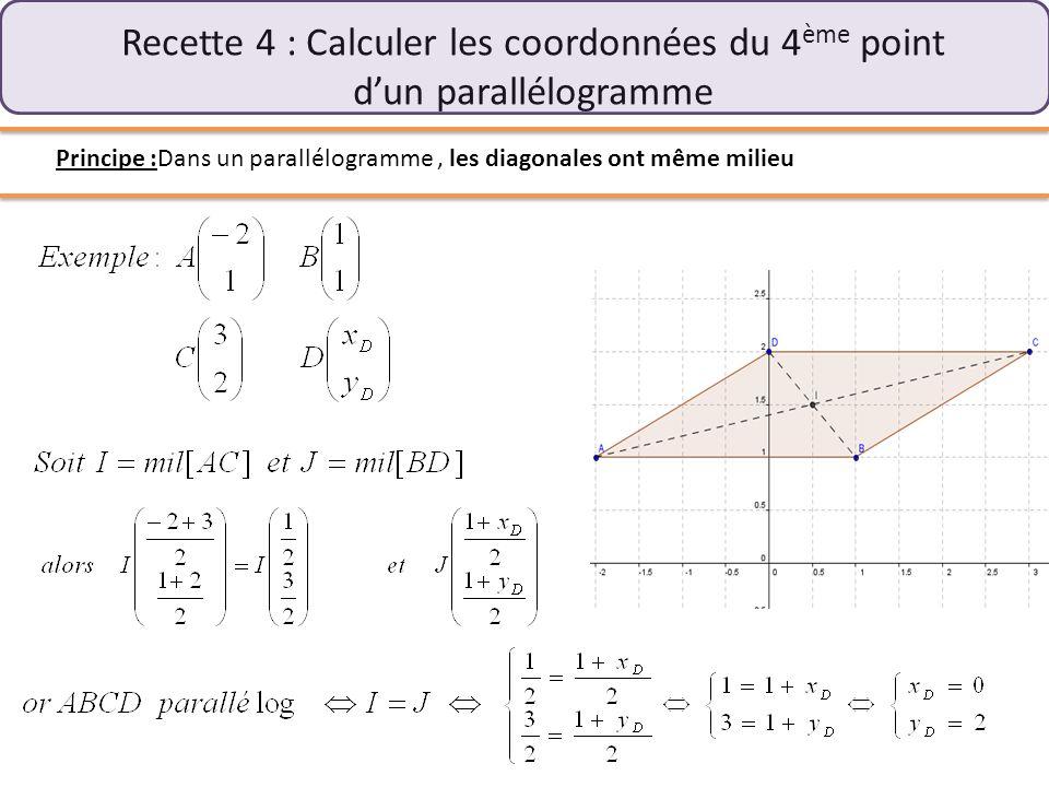 Recette 4 : Calculer les coordonnées du 4ème point d'un parallélogramme