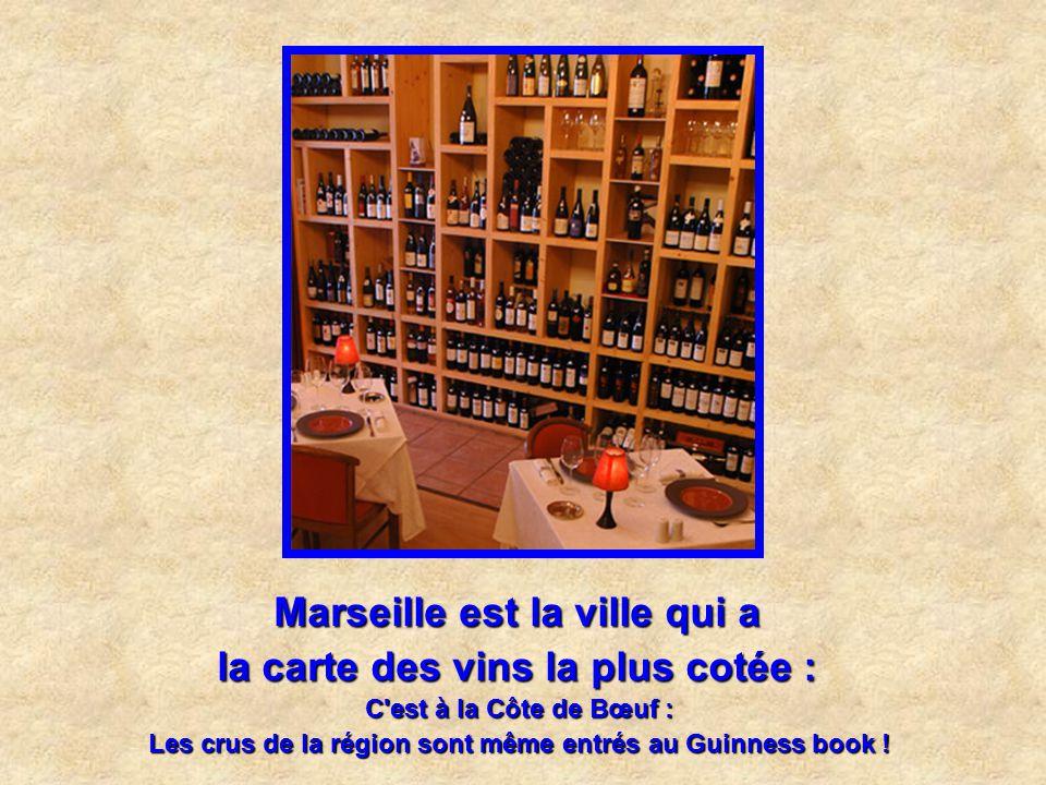 Marseille est la ville qui a la carte des vins la plus cotée :