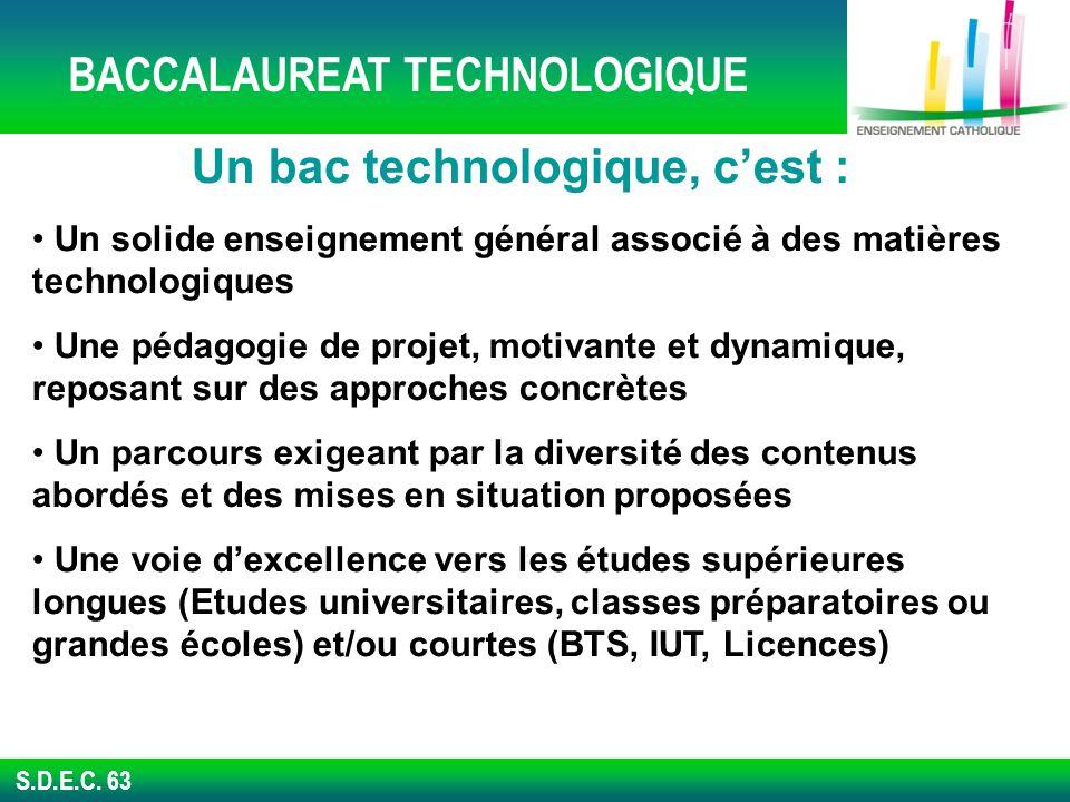 BACCALAUREAT TECHNOLOGIQUE Un bac technologique, c'est :