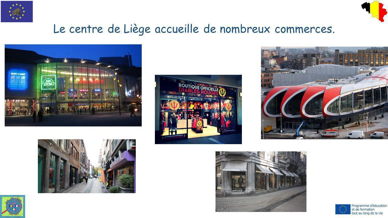 Le centre de Liège accueille de nombreux commerces.