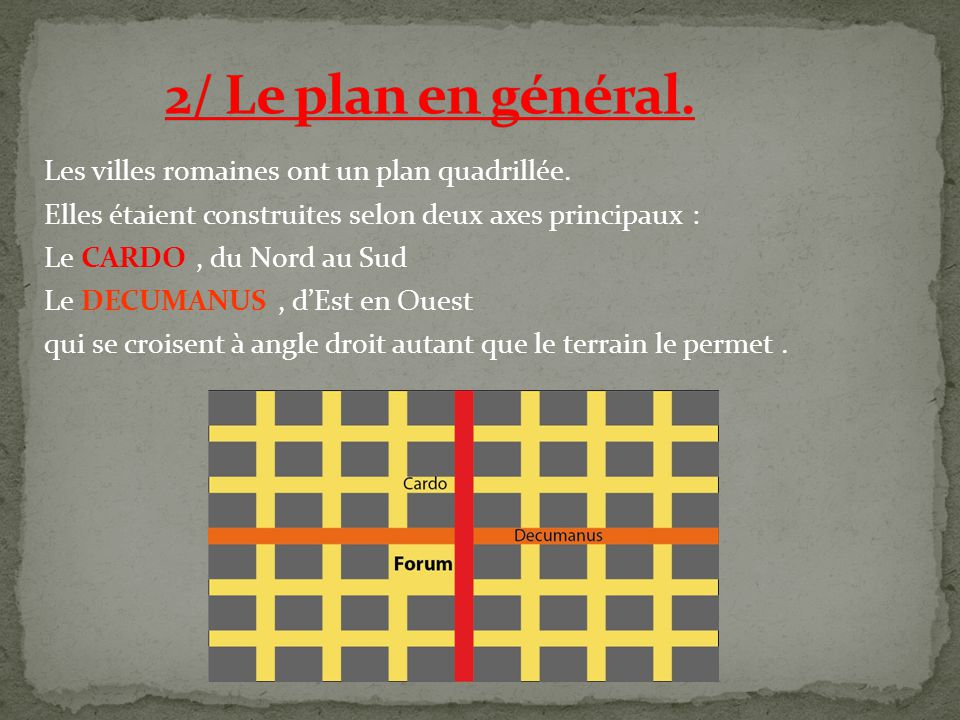 2/ Le plan en général. Les villes romaines ont un plan quadrillée.