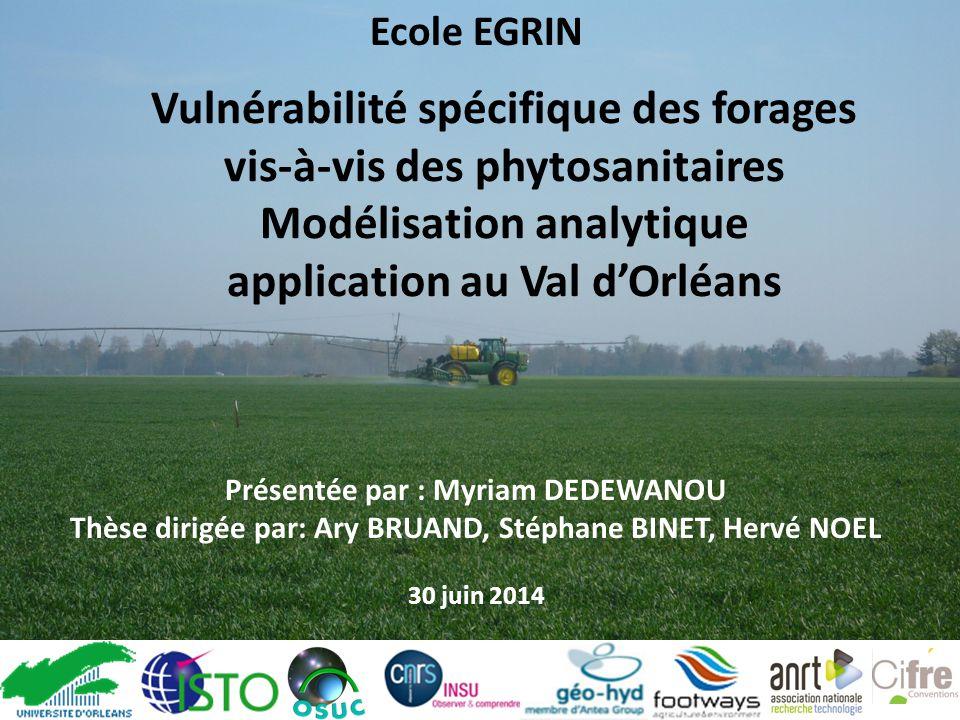 Ecole EGRIN Vulnérabilité spécifique des forages vis-à-vis des phytosanitaires Modélisation analytique application au Val d'Orléans.
