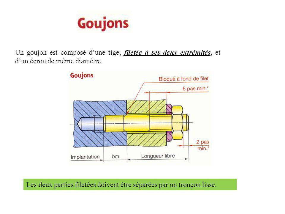 Un goujon est composé d'une tige, filetée à ses deux extrémités, et d'un écrou de même diamètre.