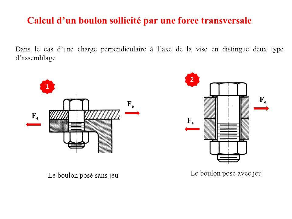 Calcul d'un boulon sollicité par une force transversale