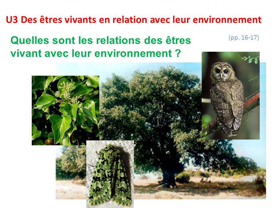 U3 Des êtres vivants en relation avec leur environnement