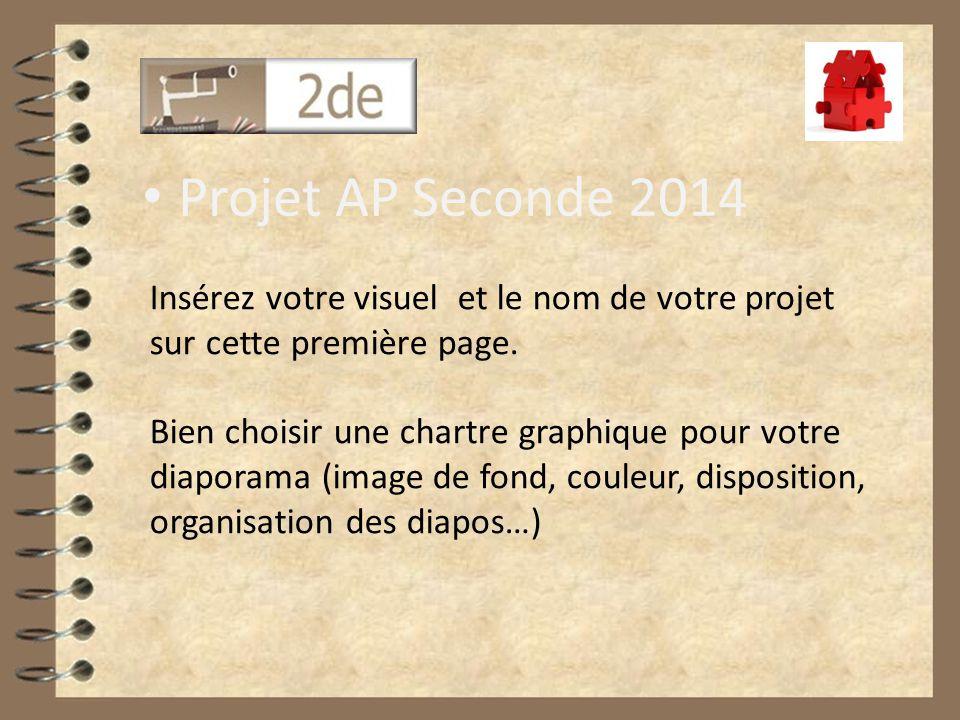 Projet AP Seconde 2014 Insérez votre visuel et le nom de votre projet sur cette première page.