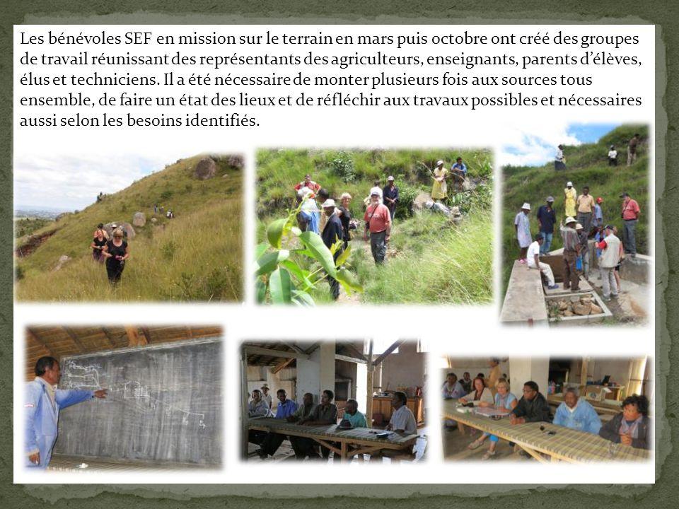 Les bénévoles SEF en mission sur le terrain en mars puis octobre ont créé des groupes de travail réunissant des représentants des agriculteurs, enseignants, parents d'élèves, élus et techniciens.