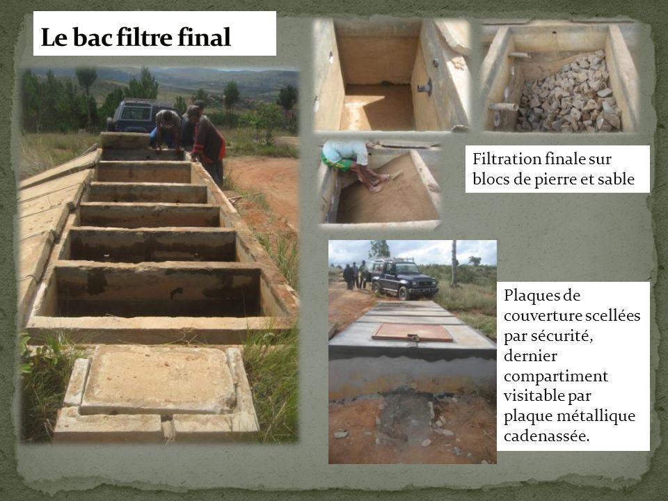 Le bac filtre final Filtration finale sur blocs de pierre et sable