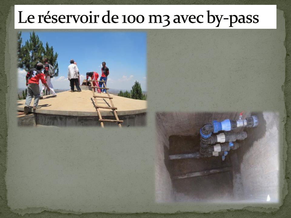 Le réservoir de 100 m3 avec by-pass
