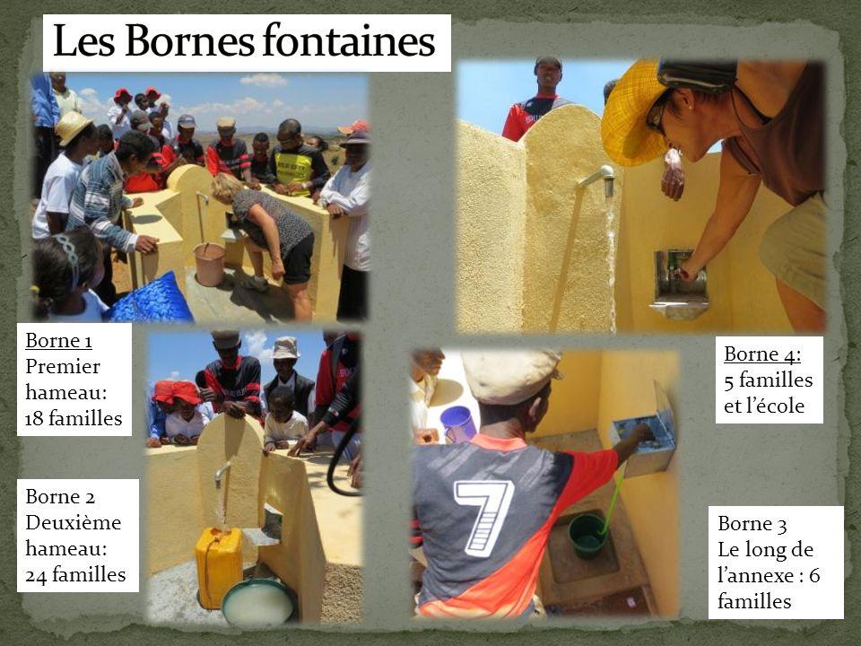 Les Bornes fontaines Borne 1 Premier hameau: 18 familles
