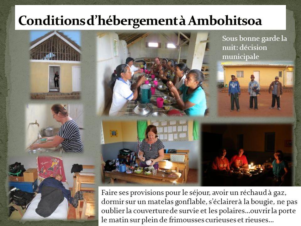 Conditions d'hébergement à Ambohitsoa